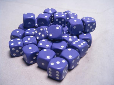 CHX25807: Purple/White Opaque 12mm d6 (36 block) Dice Set
