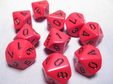 CHX26214: Red/Black Opaque Set of Ten d10's