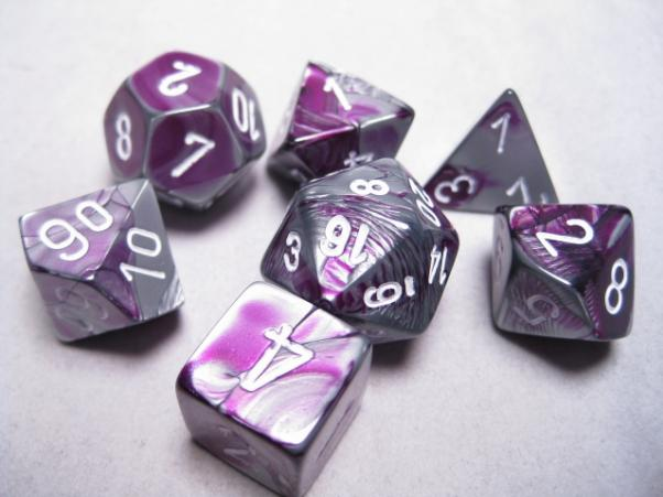 CHX26432: Purple-Steel/White Gemini Polyhedral 7-Die Set