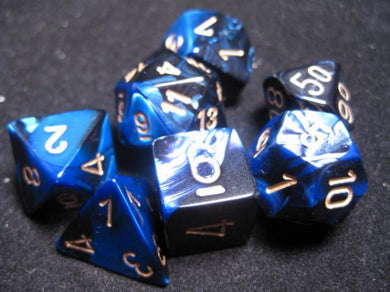 CHX26435: Black-Blue/Gold Gemini Polyhedral 7-Die Set