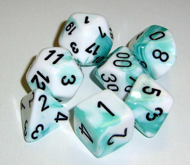 CHX26444: Gemini White Teal/black Polyhedral 7-Die Set