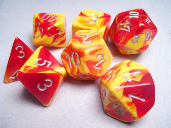 CHX26450: Gemini Red-Yellow/Silver Polyhedral 7-Die Set