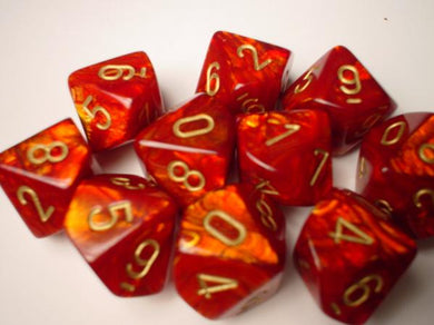 CHX27214: Scarlet/Gold Scarab Set of Ten d10's