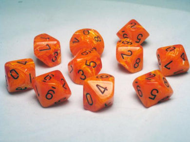 CHX27233: Orange/Black Vortex Set of Ten d10's