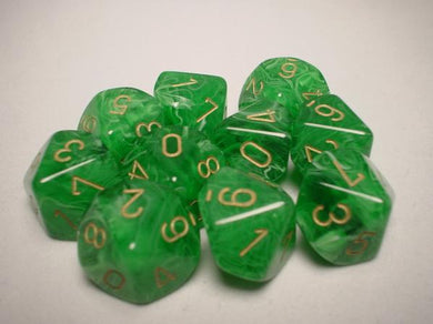 CHX27235: Green/Gold Vortex Set of Ten d10's