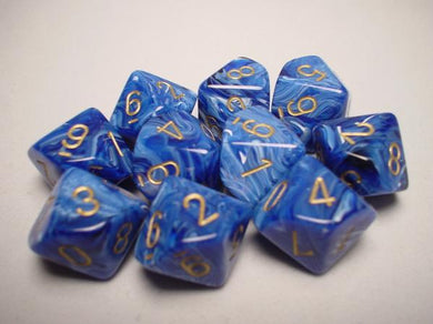 CHX27236: Blue/Gold Vortex Set of Ten d10's