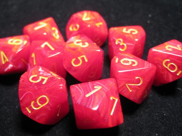 CHX27244: Vortex Red w/Yellow Set of Ten d10's