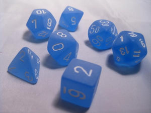 CHX27406: Blue/White Frosted Polyhedral 7-Die Set