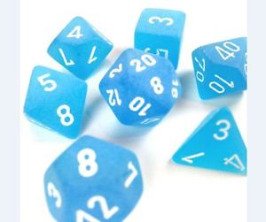 CHX27416: Caribbean Blue/White Frosted Polyhedral 7-Die Set