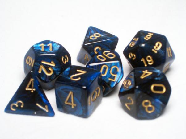 CHX27427: Scarab Polyhedral Royal Blue/gold 7-Die Set
