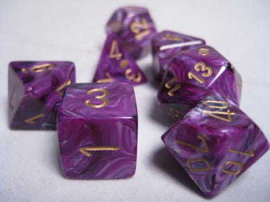 CHX27437: Vortex Purple with Gold Polyhedral 7-Die Set