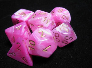 CHX27454: Vortex Pink with Gold Polyhedral 7-Die Set (Discontinued)