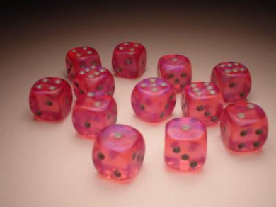 CHX27604: Borealis Pink/Silver 16mm d6 (12) dice set
