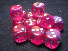 Load image into Gallery viewer, CHX27624: Borealis Magenta/Gold 16mm d6 (12) dice set