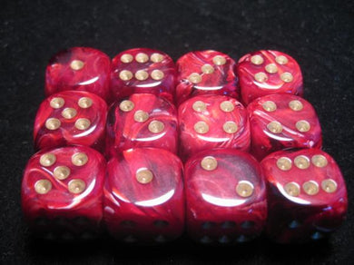 CHX27634: Burgundy/Gold Vortex 16mm d6 (12 block) Dice Set