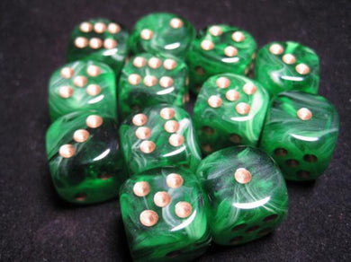 CHX27635: Green/Gold Vortex 16mm d6 (12 block) Dice Set