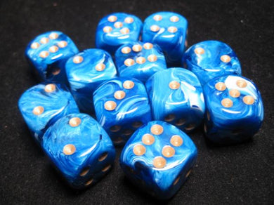 CHX27636: Blue/Gold Vortex 16mm d6 (12 block) Dice Set