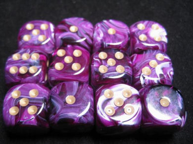 CHX27637: Purple/Gold Vortex 16mm d6 (12 block) Dice Set