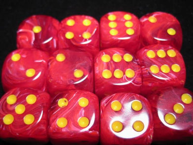 CHX27644: Vortex Red w/Yellow 16mm d6 (12 block) Dice Set (Discontinued)