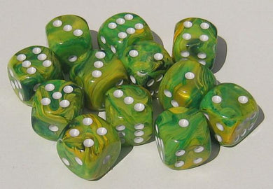 CHX27652: Dandelion/White Vortex 16mm d6 (12 block) Dice Set
