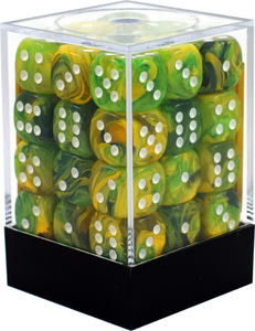 CHX27852: Dandelion/White Vortex 12mm d6 (36 block) Dice Set