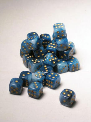 CHX27889: Teal/Gold Phantom 12mm d6 (36 block) Dice Set