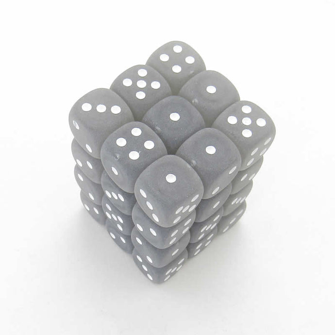CHXLE415: Frosted Smoke/White 12mm d6 (36) dice set