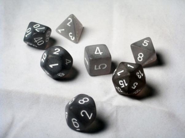 CHXLE431: Smoke/White Frosted Polyhedral 7-Die Set