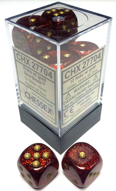 CHX27704: Glitter Ruby/Gold 16mm D6 (12 block) Dice Set