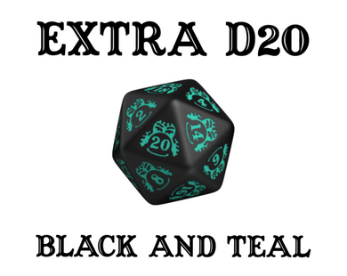 Divination Dice: Black with Teal Single D20