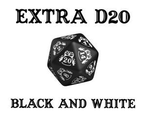 Divination Dice: Black with White Single D20