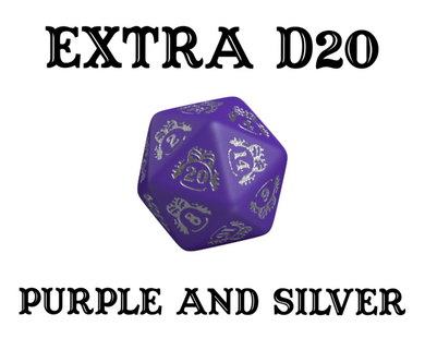 Divination Dice: Purple with Silver Single D20