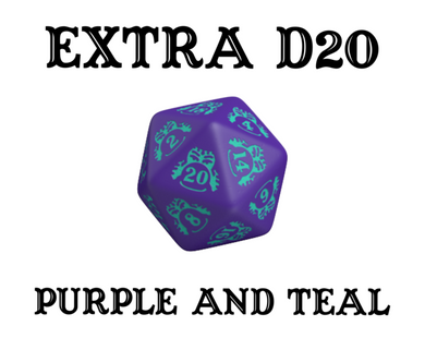 Divination Dice: Purple with Teal Single D20