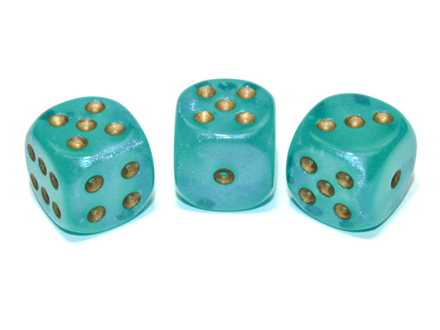 CHXDB1685: Single D6 16mm w/pips Borealis Luminary Teal/gold