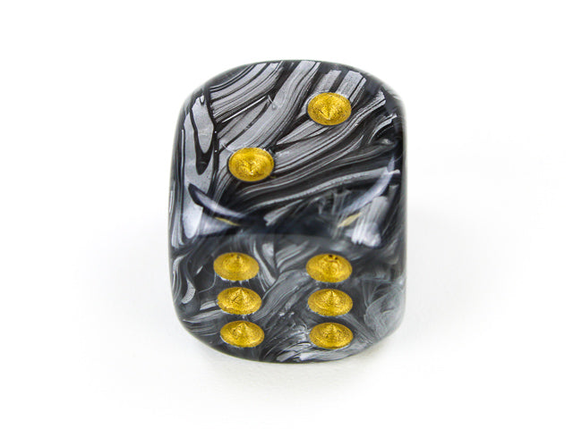 CHXDL2098: Single D6 20mm w/pips Lustrous Black/gold