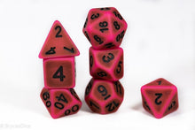 Load image into Gallery viewer, Used Eraser Pink w/Green Ancient Effect 7-Dice Set