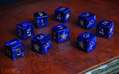 Elder Dice (d6 Tube) - Blue Astral Elder Sign