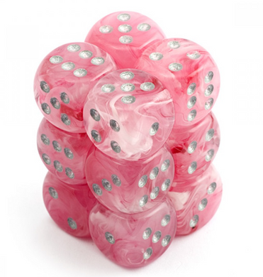CHX27724: Pink/Silver Ghostly Glow 16mm D6 (12 block) Dice Set