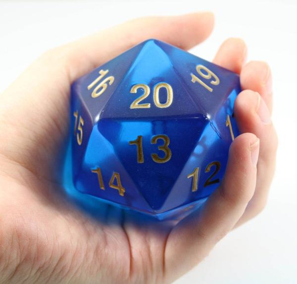 Koplow Super Jumbo 55mm D20 Countdown Die - Translucent Sapphire Blue