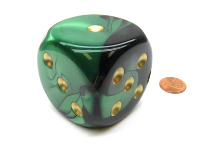 Single D6 50mm w/pips Gemini Black-Green/Gold