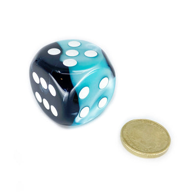 Single D6 30mm w/pips Gemini Black-Shell w/white