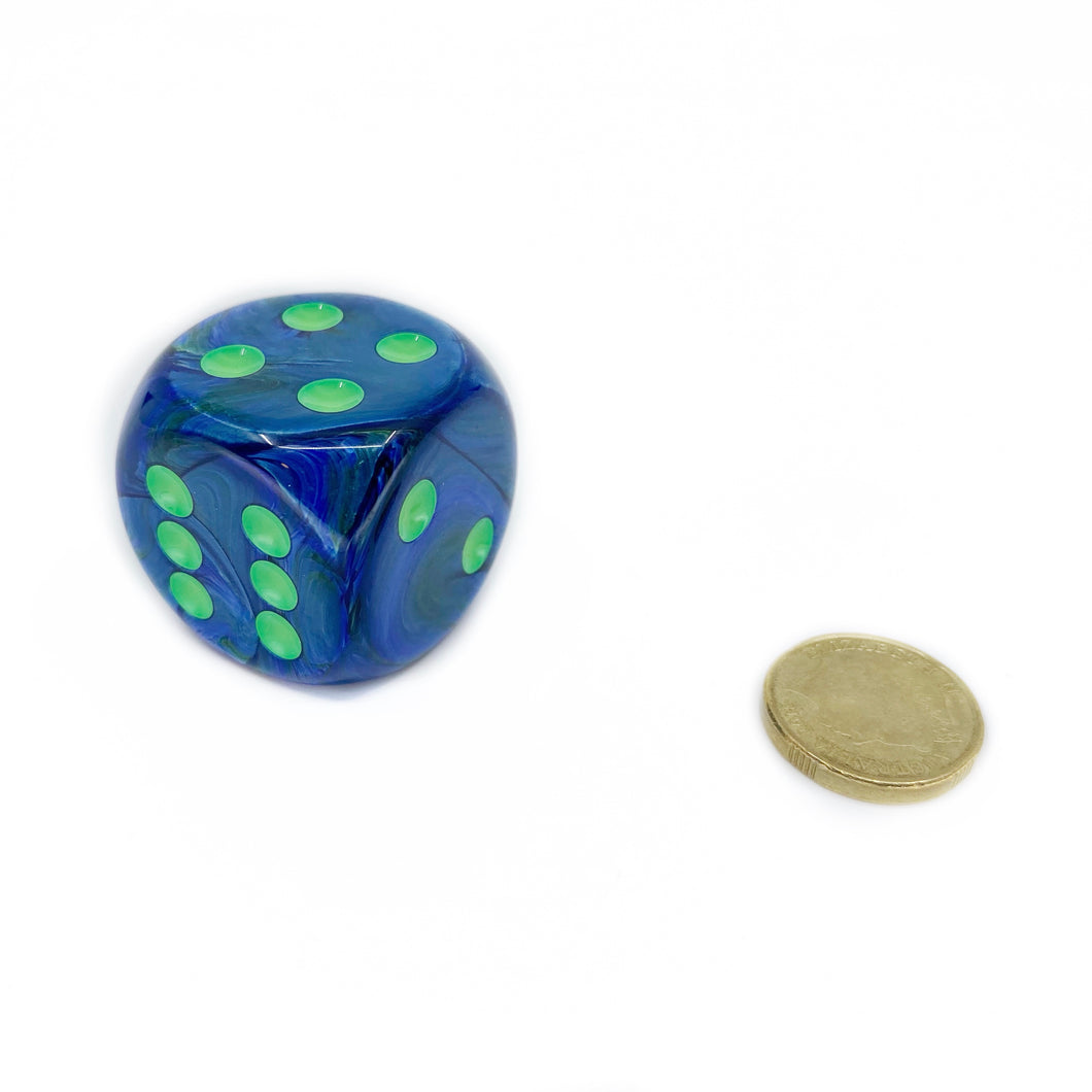 Single D6 30mm w/pips Lustrous Dark Blue/green