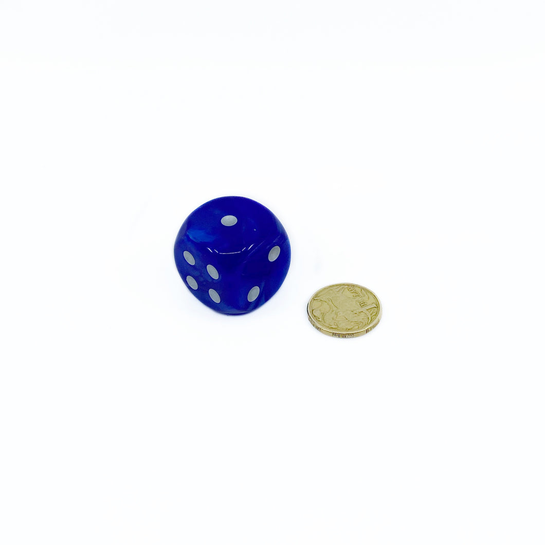 Single D6 30mm w/pips Velvet Blue/silver (out of print)