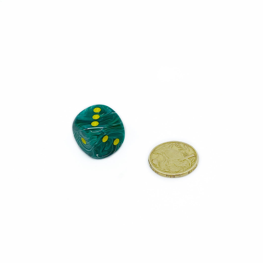 Single D6 20mm w/pips Vortex Malachite Green/yellow (out of print)