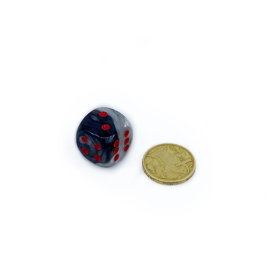 Single D6 20mm w/pips Gemini Black-White/red (out of print)