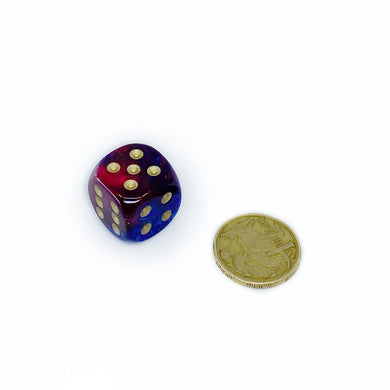 Single D6 20mm w/pips Gemini Blue-Magenta w/gold (out of print)