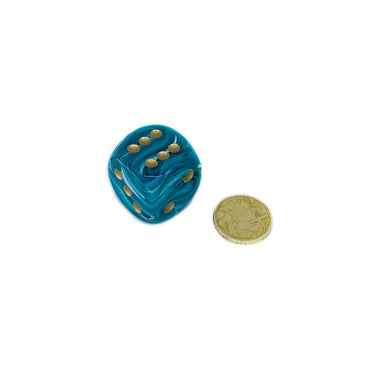 Single D6 30mm w/pips Vortex Teal gold (out of print)