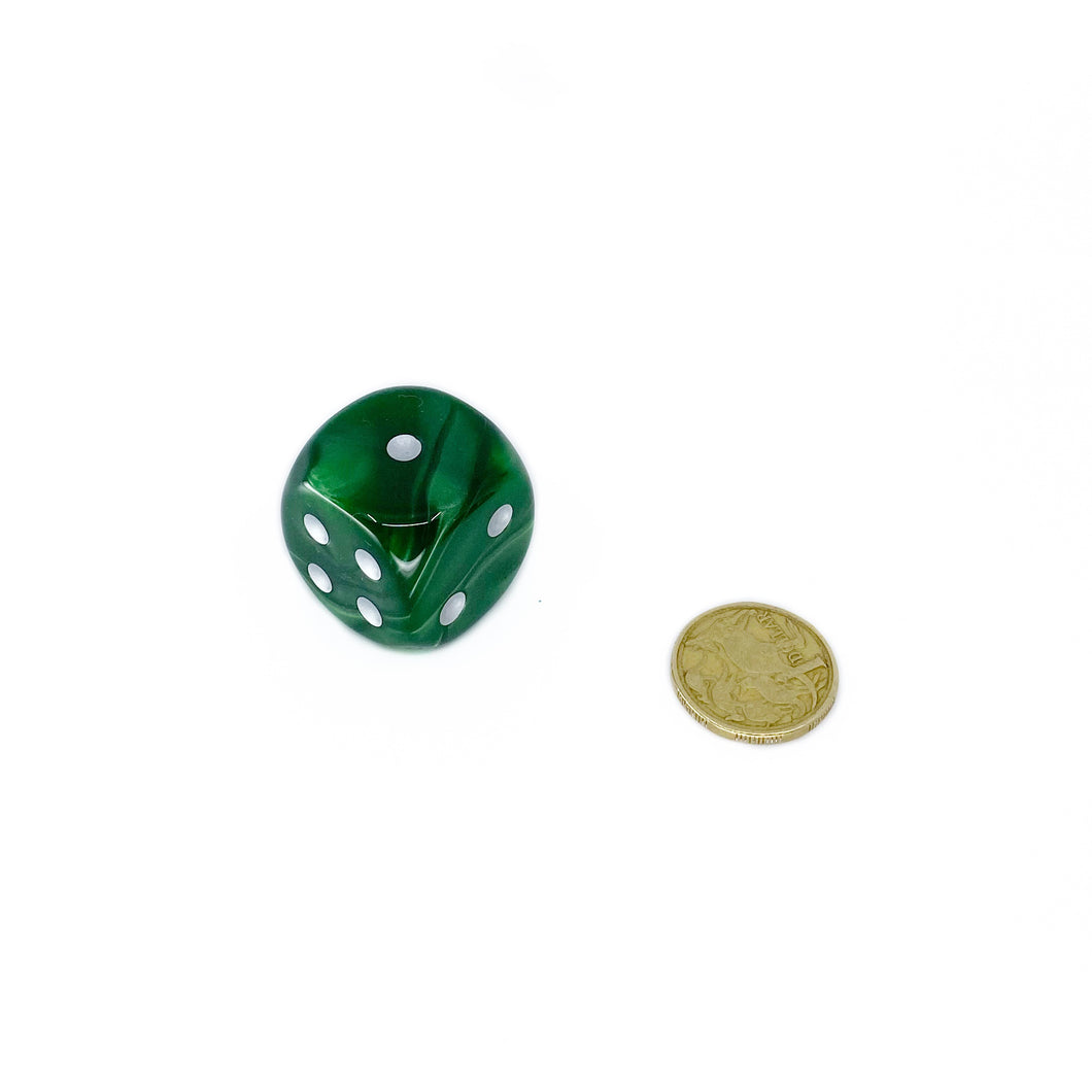 Single D6 30mm w/pips Velvet Green/silver (out of print)
