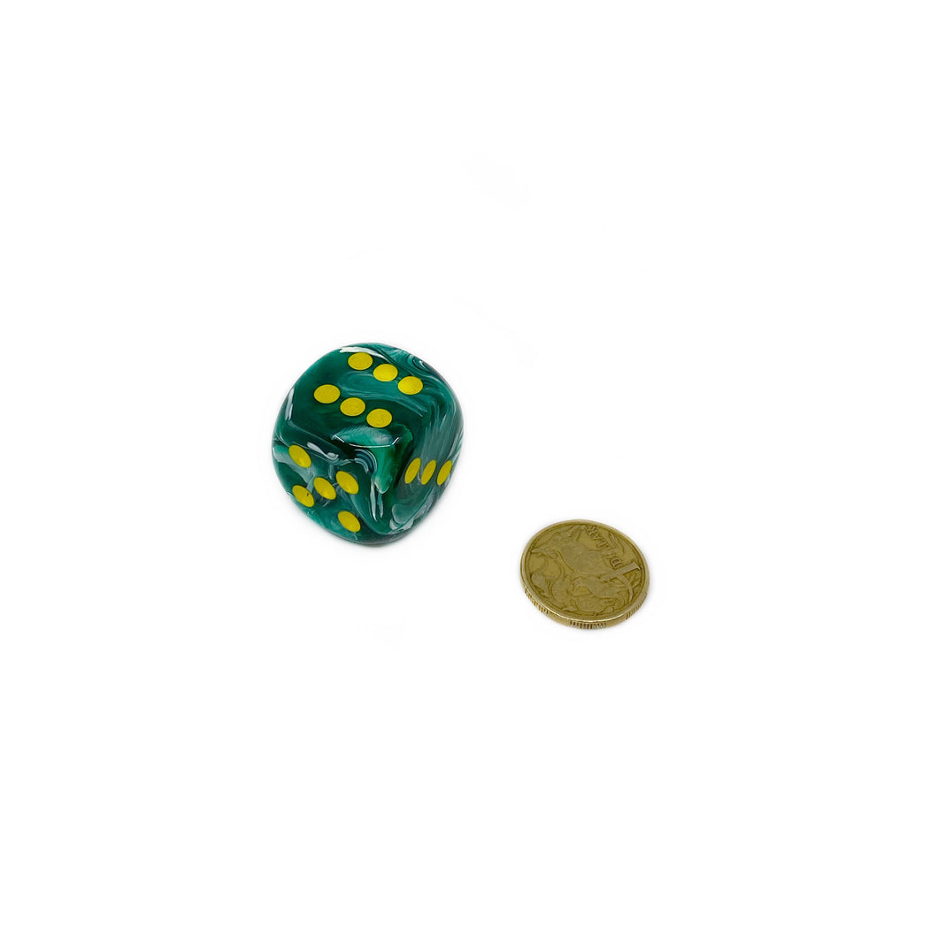 Single D6 30mm w/pips Vortex Malachite Green/yellow (out of print)
