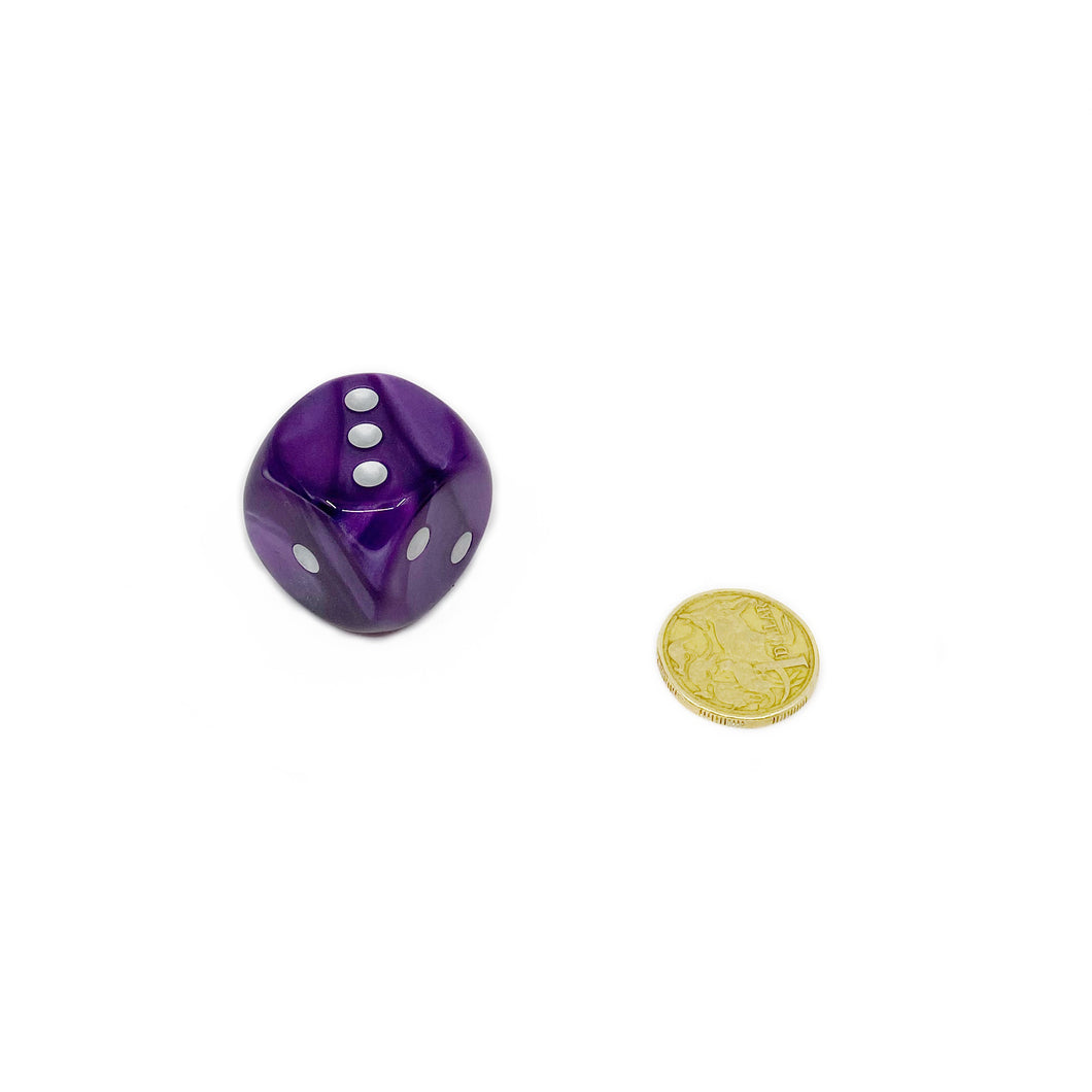 Single D6 30mm w/pips Velvet Purple/silver (out of print)